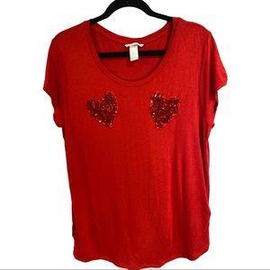 H&M Sequin Heart Shirt size XL